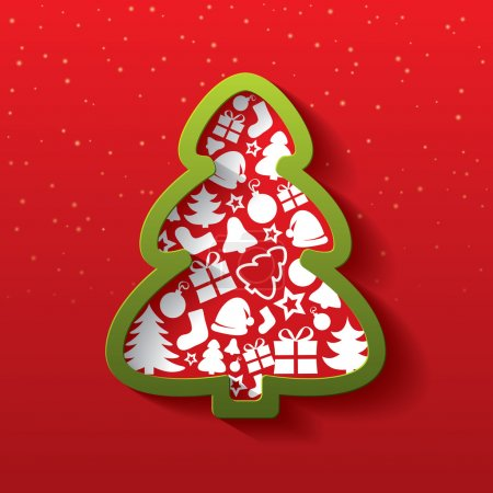 Photo for Christmas tree greeting card. Christmas tree of flat icons. Happy New Year. Illustration. - Royalty Free Image
