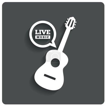 Acoustic guitar icon. Live music symbol. Flat icon