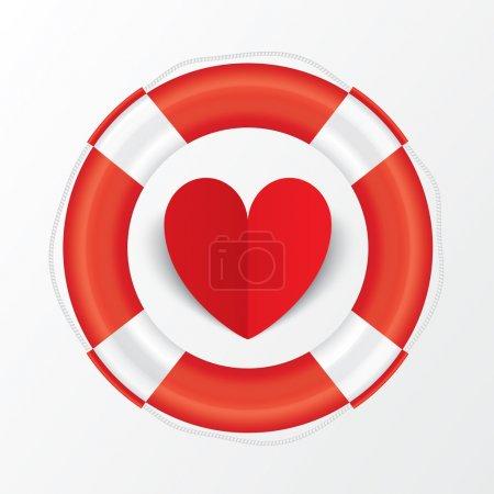Photo pour Papier rouge coeur en bouée de sauvetage. Carte Saint Valentin sur fond blanc. Coupé dans du papier. illustration - image libre de droit