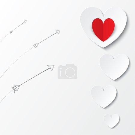 Photo pour Papier blanc coeurs Valentines carte de jour avec des flèches sur fond blanc. Coupé dans du papier. illustration - image libre de droit