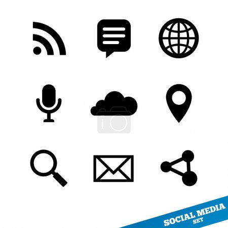 Social media icons. Black signs for app. .
