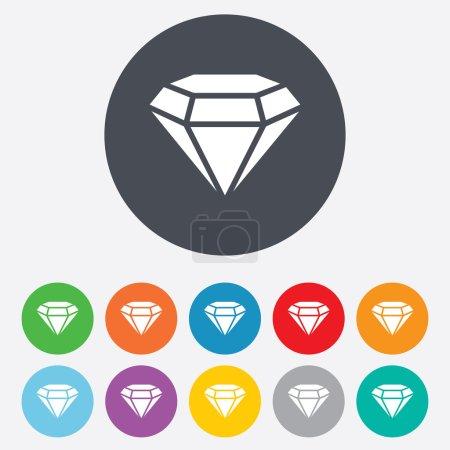 Photo pour Icône en diamant. Symbole de bijoux. Pierre précieuse. Rond coloré 11 boutons . - image libre de droit