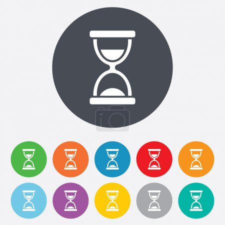 Photo for Hourglass sign icon. Sand timer symbol. Round colourful 11 buttons. - Royalty Free Image