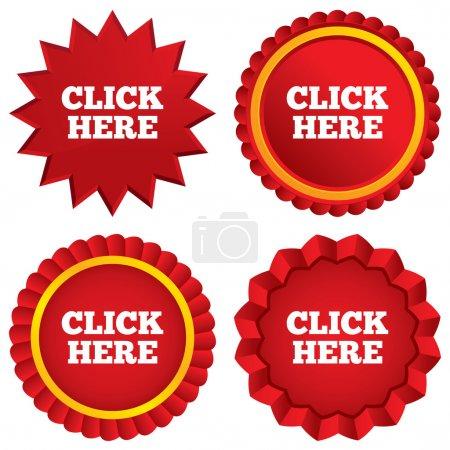 Photo pour Cliquez ici signe icône. Appuyez sur bouton. Stickers étoiles rouges. Étiquettes emblème certificat . - image libre de droit