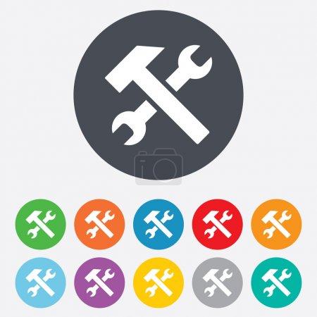 Photo pour Outil de réparation signe icône. Symbole de service. Marteau avec clé. Rond coloré 11 boutons . - image libre de droit