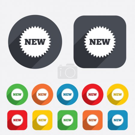Photo for New sign icon. New arrival star symbol. Circles and rounded squares 12 buttons. - Royalty Free Image