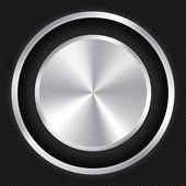 Metallic button on Carbon fiber background.