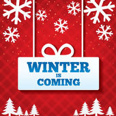 Winter is coming sale background Merry Christmas card with flat icons Special offer backdrop New year discounts