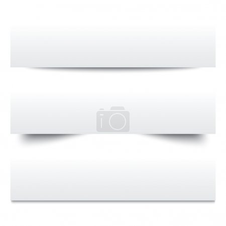 Illustration for Paper shadows. Collection of white note papers. Paper separators, dividers. Page delimiters. Vector illustration. - Royalty Free Image