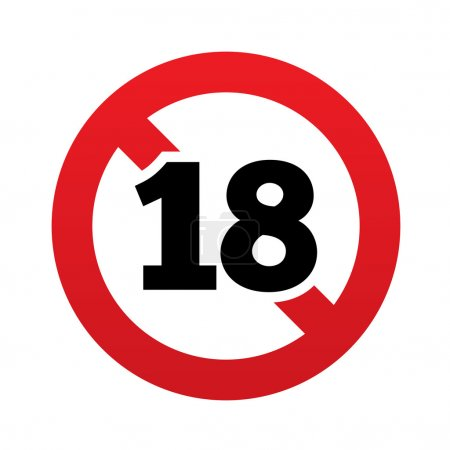 No 18 years old sign. Adults content icon. Red pro...