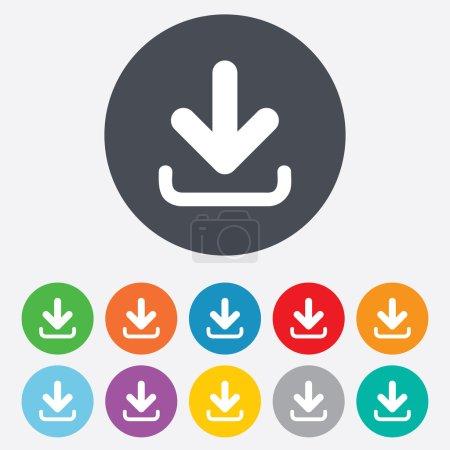 Download icon. Upload button. Load symbol. Round c...