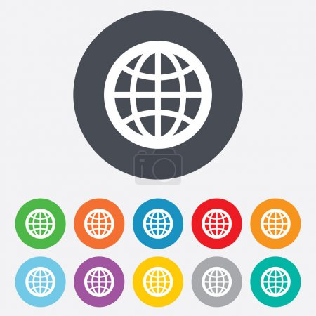 Illustration for Globe sign icon. World symbol. Round colourful 11 buttons. Vector - Royalty Free Image