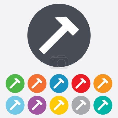 Illustration pour Icône de signe de marteau. Service de réparation symbole. Rond coloré 11 boutons. Vecteur - image libre de droit