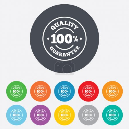 Illustration for 100% quality guarantee sign icon. Premium quality symbol. Round colourful 11 buttons. Vector - Royalty Free Image