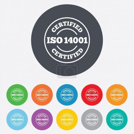 Illustration for ISO 14001 certified sign icon. Certification stamp. Round colourful 11 buttons. Vector - Royalty Free Image