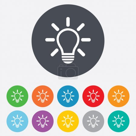 Illustration for Light lamp sign icon. Idea symbol. Light is on. Round colourful 11 buttons. Vector - Royalty Free Image