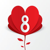 8 march red paper heart flower Women's Day