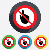 Do not touch Hand cursor sign icon