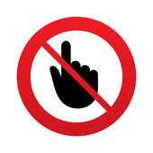 No Hand cursor sign icon Do not touch or press Hand pointer symbol Red prohibition sign Stop symbol Vector