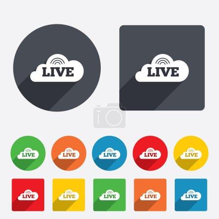 Illustration pour Icône de signe vivant. Sur le symbole du courant d'air. Cercles et carrés arrondis 12 boutons. Vecteur - image libre de droit