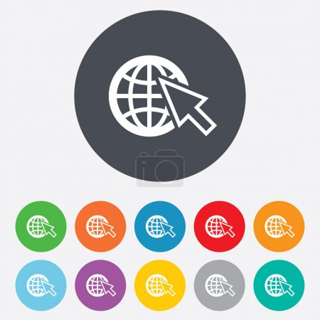 Illustration for Internet sign icon. World wide web symbol. Cursor pointer. Round colourful 11 buttons. Vector - Royalty Free Image