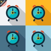 Alarm clock sign icon Wake up alarm symbol Four squares Colored Flat design buttons Vector