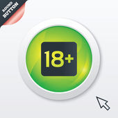 18 years old sign Adults content only icon Green shiny button Modern UI website button with mouse cursor pointer Vector