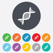 DNA sign icon Deoxyribonucleic acid symbol Round colourful 11 buttons Vector