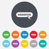 Register with cursor pointer icon Membership