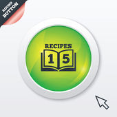 Cookbook sign icon 15 Recipes book symbol Green shiny button Modern UI website button with mouse cursor pointer Vector