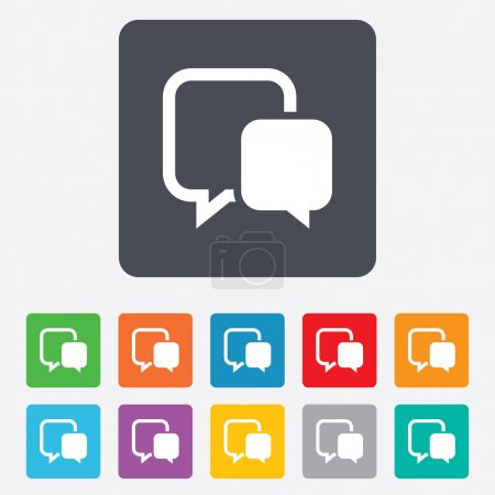 Illustration for Chat sign icon. Speech bubble symbol. Communication chat bubble. Rounded squares 11 buttons. Vector - Royalty Free Image