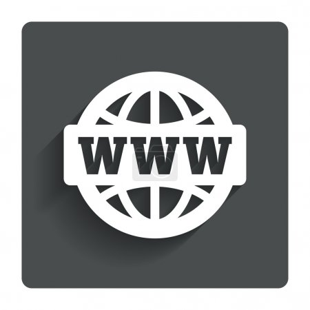 Illustration for WWW sign icon. World wide web symbol. Globe. Gray flat button with shadow. Modern UI website navigation. Vector - Royalty Free Image