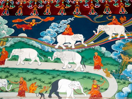 Photo for How to tame elephant, detail at the temple entrance, painted wall of the Tibetan monastery. Refugee home, Dharamsala northern India. - Royalty Free Image