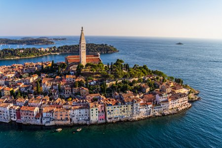 Photo for Aerial shoot of Old town Rovinj at sunset, Istra region, Croatia. - Royalty Free Image