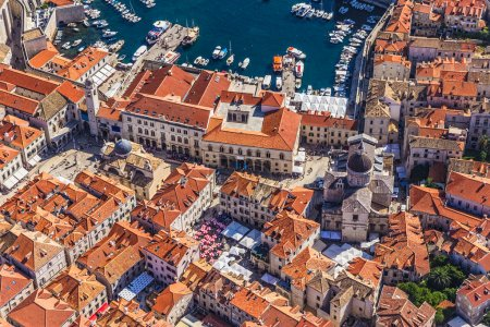 Photo for Aerial helicopter shoot of Dubrovnik old town with a view to the Rector's Palace and Cathedral. - Royalty Free Image