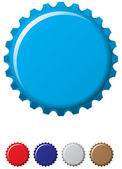 A blue coloured bottle cap with four other colours