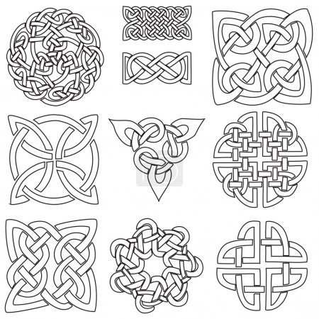 Illustration for A set of ten Celtic designs ready to be coloured - Royalty Free Image