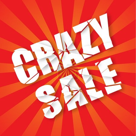 Illustration for The words Crazy Sale in an explosion text effect with sunburst background - Royalty Free Image