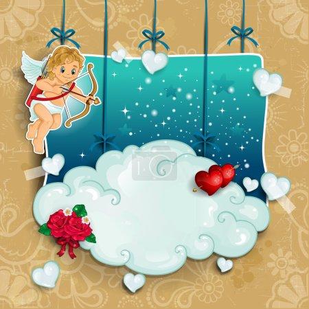 Illustration pour Pendentif Cupidon dans les nuages rose avec des coeurs et des étoiles-transparence des effets de mélange et gradient mesh-EPS 10 - image libre de droit