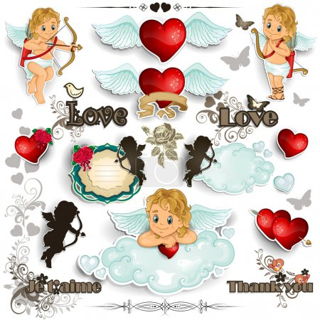 Set Cupid and love white background