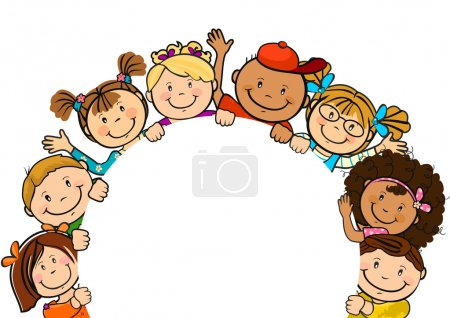 The world's children in a circle white background-...