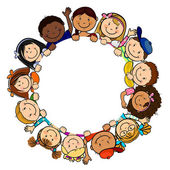 Children in Circle White Background