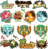 Set of summer themed stickers with space for insert-written various levels-transparency blending effects and gradient mesh-EPS 1