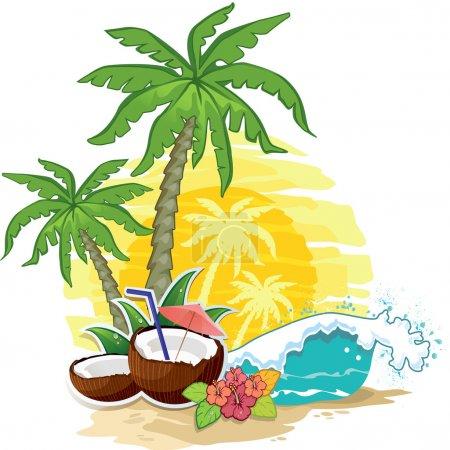 Illustration pour Paysage tropical avec palmiers et noix de coco drink-eps 10 - image libre de droit