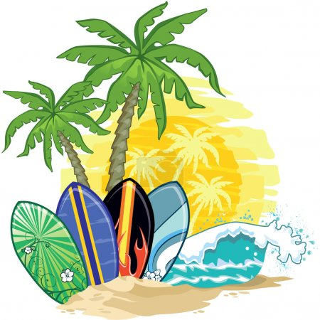 Palm trees and surfboards