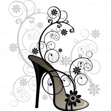 Stylized black sandal with floral decorations