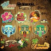 Set tropical beach stickers