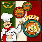Chef pizza menu background Italian flag