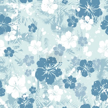 Illustration for Tropical floral seamless distressed-EPS8 - Royalty Free Image