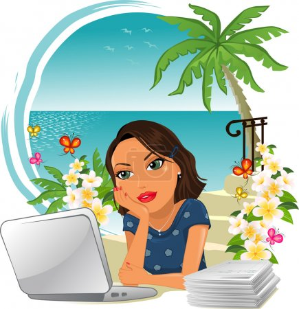 Illustration for Woman in office with little desire to work, think of the holidays by the sea-Gradient mesh-EPS10 - Royalty Free Image